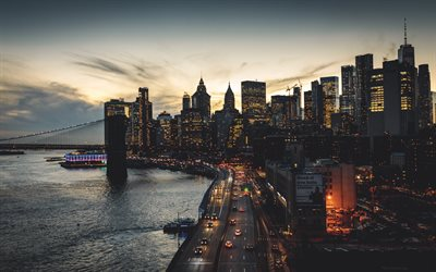 New York, Brooklyn Bridge, Manhattan, evening, sunset, modern buildings, skyscrapers, One World Trade Center, One WTC, Freedom Tower, New York City, skyline, USANY