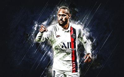 Neymar, le Paris Saint-Germain, le PSG, le Brésilien joueur de football, star mondiale du football, uniforme blanc PSG 2020, de la Ligue des Champions, Ligue 1, France, football