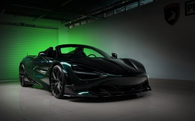 McLaren 720S Spider Fury, TopCar, front view, hypercar, roadster, green 720S Spider, black wheels, tuning British sports cars, McLaren