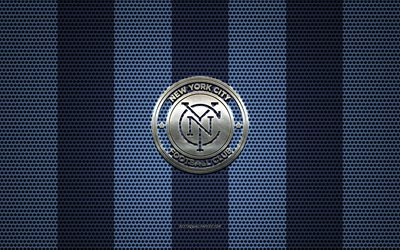 New York City FC logo, American soccer club, metal emblem, blue metal mesh background, New York City FC, MLS, New York, USA, soccer
