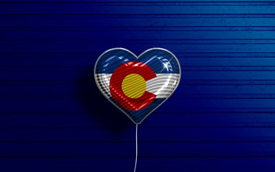 I Love Colorado, 4k, realistic balloons, blue wooden background, United States of America, Colorado flag heart, flag of Colorado, balloon with flag, American states, Love Colorado, USA