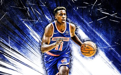 4k, Frank Ntilikina, grunge art, New York Knicks, NBA, basketball, Frank Bryan Ntilikina, USA, Frank Ntilikina New York Knicks, blue abstract rays, Frank Ntilikina 4K, NY Knicks