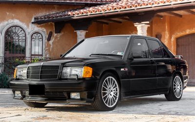 Mercedes-Benz 190E, W201, front view, exterior, black sedan, retro cars, black 190E, german cars, Mercedes