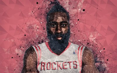 James Harden, 4k, American basketball player, face, creative geomeric portrait, NBA, USA, creative art, Houston Rockets, basketball