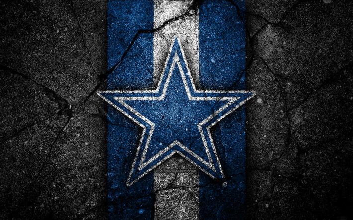 4k, Dallas Cowboys, logo, black stone, NFL, NFC, american football
