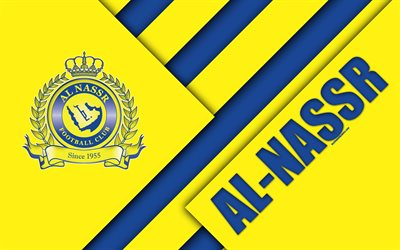 Al-Nassr FC, 4k, yellow blue abstraction, logo, Saudi Arabian football club, material design, Riyadh, Saudi Arabia, football, Saudi Professional League