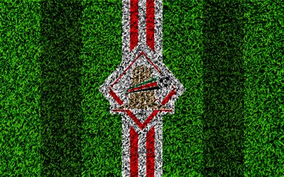 Al Sharjah FC, 4k, United Arab Emirati football club, logo, grass texture, football field, red white lines, Sharjah, United Arab Emirates, football, UAE Pro-League, Arabian Gulf League