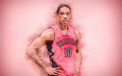 DeMar DeRozan, 4k, artwork, basketball stars, Toronto Raptors, DeRozan, NBA, basketball, drawing DeRozan