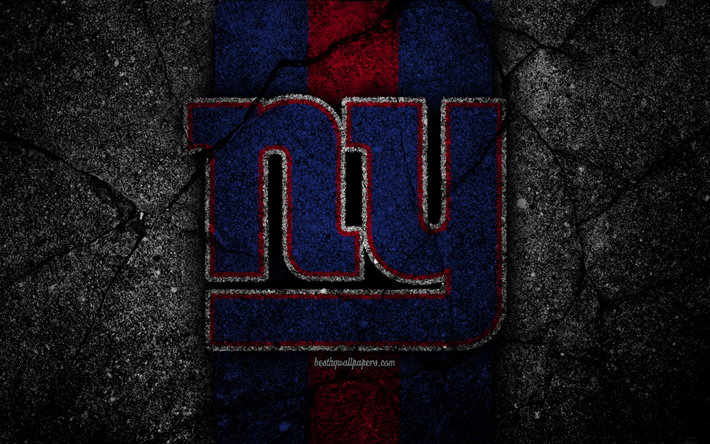 4k, New York Giants, logo, black stone, NFL, NFC, american