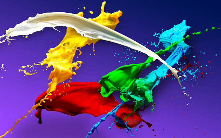 Splashes Of Paint Colorful Creative Art