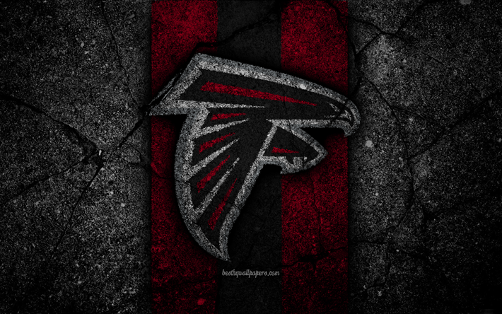 Atlanta Falcons Logo Photos Nfl Iphone Wallpapers: Download Wallpapers 4k, Atlanta Falcons, Logo, Black Stone