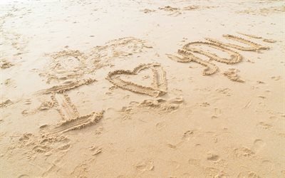 I love you, inscription on the sand, evening, beach, sand, love concepts