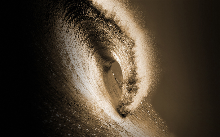 big wave, tsunami, sunset, evening, ocean, waves