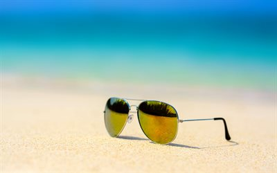 sunglasses, sand, beach, summer vacation, sea, travel, summer concepts