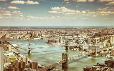 Manhattan Bridge, Brooklyn Bridge, New York, panorama, cityscapes, USA, NYC, America