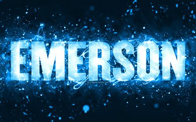 Happy Birthday Emerson, 4k, blue neon lights, Emerson name, creative, Emerson Happy Birthday, Emerson Birthday, popular american male names, picture with Emerson name, Emerson