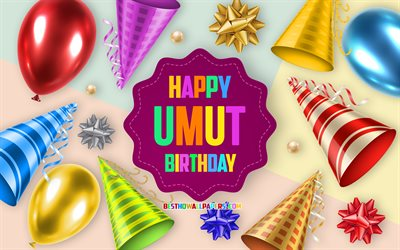 Happy Birthday Umut, 4k, Birthday Balloon Background, Umut, creative art, Happy Umut birthday, silk bows, Umut Birthday, Birthday Party Background