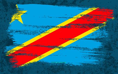 4k, Flag of Democratic Republic of Congo, grunge flags, African countries, national symbols, brush stroke, grunge art, Democratic Republic of Congo flag, Africa, Democratic Republic of Congo