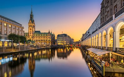 Hamburg City Hall, 4k, water channel, cityscapes, Hamburg, german cities, Europe, Germany, Hamburger Rathaus, Cities of Germany, Hamburg Germany
