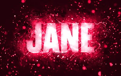 Happy Birthday Jane, 4k, pink neon lights, Jane name, creative, Jane Happy Birthday, Jane Birthday, popular american female names, picture with Jane name, Jane