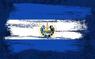 4k, Flag of El Salvador, grunge flags, North American countries, national symbols, brush stroke, Salvadoran flag, grunge art, El Salvador flag, North America, El Salvador
