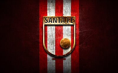 Independiente Santa Fe FC, golden logo, Categoria Primera A, red metal background, football, colombian football club, Independiente Santa Fe logo, soccer, Independiente Santa Fe