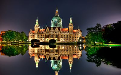 The New Town Hall 4k, Hanover, cityscapes, nightscapes, german cities, Europe, Germany, Cities of Germany, Hanover Germany