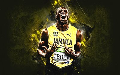 Usain Bolt, Jamaican athlete, Jamaican runner, Olympic champion, yellow stone background, Usain Bolt art