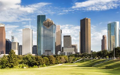 Houston, skyscrapers, Heritage Plaza, JPMorgan Chase Tower, Wells Fargo Plaza, Houston skyline, Houston cityscape, Texas, USA