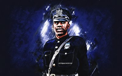 Jefferson Davis, 4K, blue stone background, Jefferson Davis art, Marvel comics, Officer Jeff Davis, NYPD, Jefferson Davis Marvel