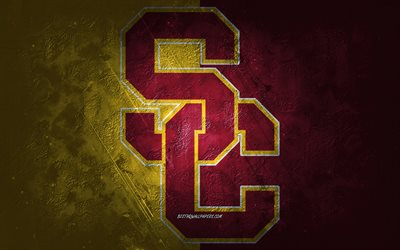 USC Trojans, American football team, yellow-red background, USC Trojans logo, grunge art, NCAA, American football, USC Trojans emblem