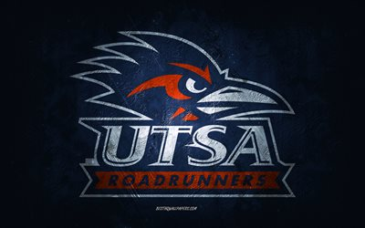 UTSA Roadrunners, American football team, blue background, UTSA Roadrunners logo, grunge art, NCAA, American football, UTSA Roadrunners emblem