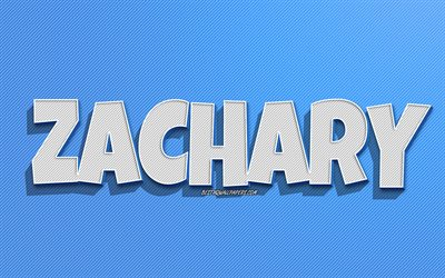 Zachary, blue lines background, wallpapers with names, Zachary name, male names, Zachary greeting card, line art, picture with Zachary name