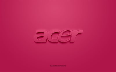 Acer logo, purple background, Acer 3d logo, 3d art, Acer, brands logo, pink 3d Acer logo