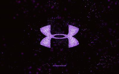 Under Armour glitter logo, black background, Under Armour logo, purple glitter art, Under Armour, creative art, Under Armour purple glitter logo
