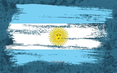 4k, Flag of Argentina, grunge flags, South American countries, national symbols, brush stroke, Argentinian flag, grunge art, Argentina flag, South America, Argentina