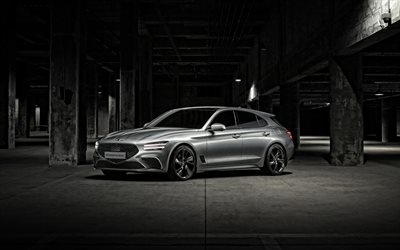 2022, Genesis G70 Shooting Brake, 4k, front view, exterior, new silver G70 Shooting Brake, G70 station wagon, Korean cars, Genesis