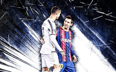 4k, Cristiano Ronaldo and Lionel Messi, grunge art, football stars, soccer, CR7, blue abstract rays, Lionel Messi, Cristiano Ronaldo