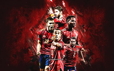 Spain national football team, red stone background, Spain, football, Sergio Ramos, Ansu Fati, Thiago Alcantara