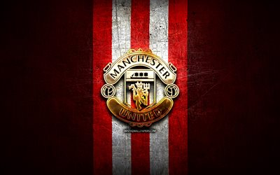 Manchester United FC, golden logo, Premier League, red metal background, football, english football club, Manchester United logo, Man United, soccer, FC Manchester United