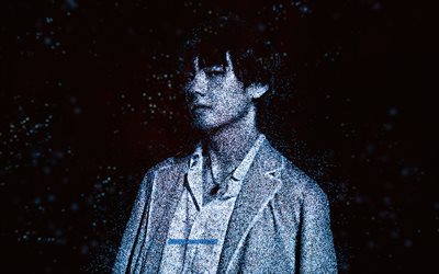 V, BTS, blue glitter art, black background, South Korean singer, V BTS art, Kim Tae-hyung, K-pop