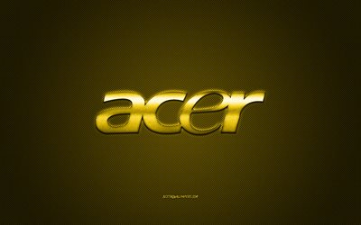 Acer logo, yellow carbon background, Acer metal logo, Acer yellow emblem, Acer, yellow carbon texture