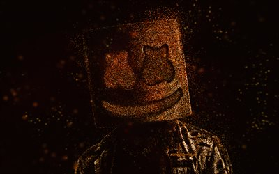 Marshmello, American DJ, gold glitter art, black background, Marshmello art, Christopher Comstock, DJ Marshmello