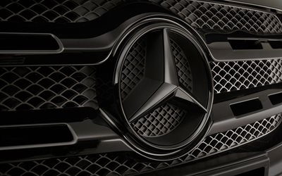 Mercedes-Benz logo, 4k, close-up, radiator grille, cars brands, Mercedes 3D logo, Mercedes-Benz