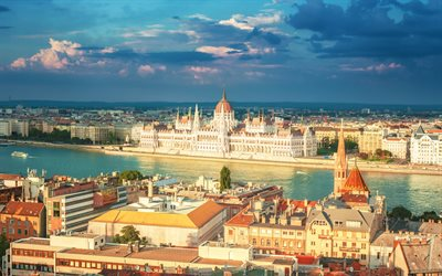 Budapest, Hungary, Parliament building, Danube river, summer
