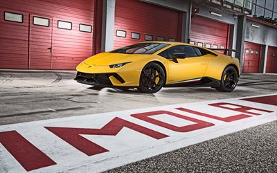 Download wallpapers Lamborghini Huracan, 2017, yellow ...