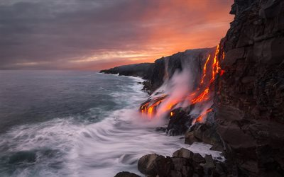 America, Hawaii, coast, lava, sea, Pacific ocean, USA