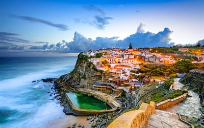 Sintra, Azenhas do Mar, ocean, evening, Portugal, Atlantic Ocean