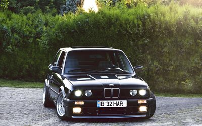 tuning, BMW 3-Series, E30, german cars, low rider, black m3, stance, BMW