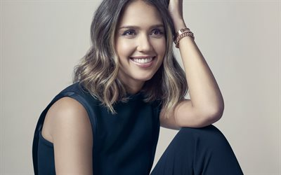 Jessica Alba, Portrait, american actress, smile, beautiful woman